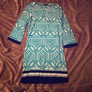 Turquoise and White Jessica Howard Dress